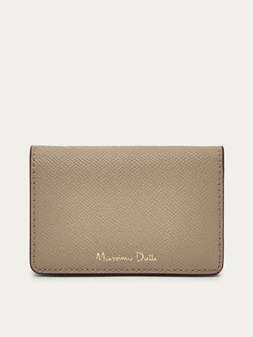 LEATHER CARD HOLDER WITH TWO-TONE DETAIL