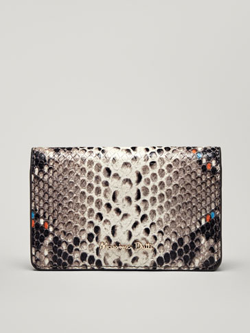 MULTICOLOURED LEATHER SNAKESKIN-EFFECT CARD HOLDER