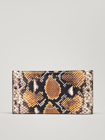 LEATHER WALLET WITH FAUX SNAKESKIN FINISH