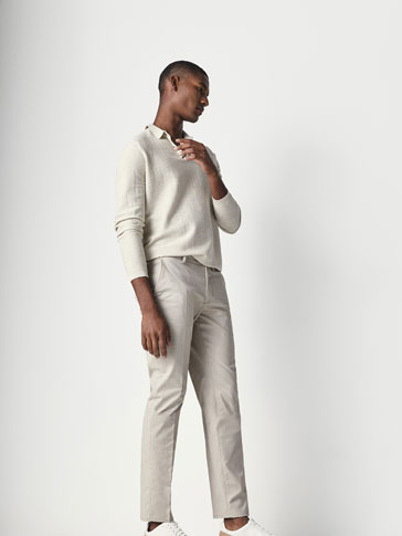 CASUAL FIT MICRO-TEXTURED WEAVE CHINO TROUSERS