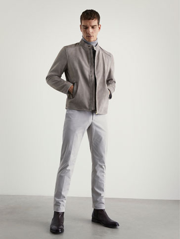 SLIM-FIT CHINOS MED STRIKKET STRUKTUR