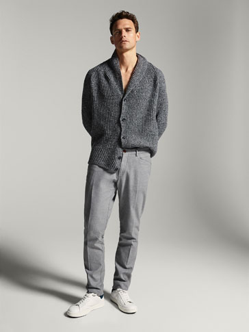 SLIM FIT FINE TEXTURED WEAVE HEATHERED TROUSERS