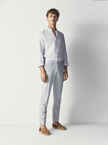 Casual Fit Linen/Cotton Chino Trousers by Massimo Dutti