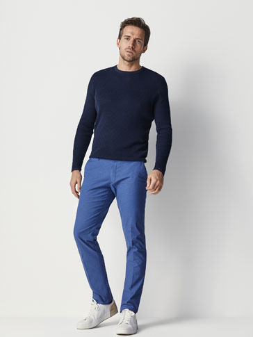 SLIM FIT TEXTURED WEAVE CHINO TROUSERS