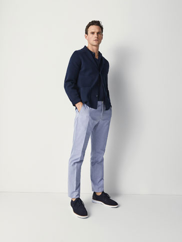 PANTALONI CASUAL FIT OXFORD STIL CHINO
