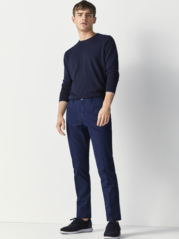 SLIM FIT JACQUARD CHINOS
