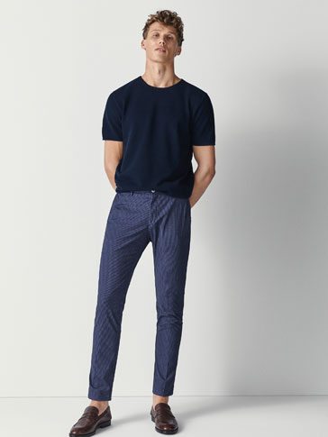 SLIM FIT CHECK-TEXTURE WEAVE CHINOS