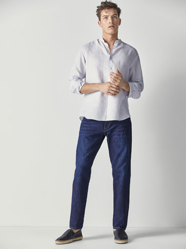 CASUAL FIT COTTON/LINEN JEANS