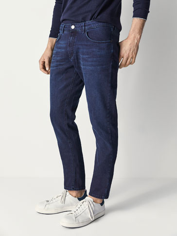 PANTALONI IN JEANS NERO BLU SLIM FIT
