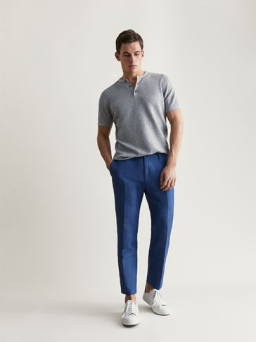 PANTALON COTON/LIN À CHEVRONS CASUAL FIT