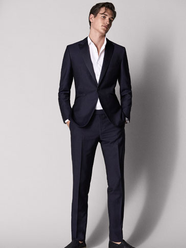 PANTALON SMOKING BLEU MARINE SLIM FIT