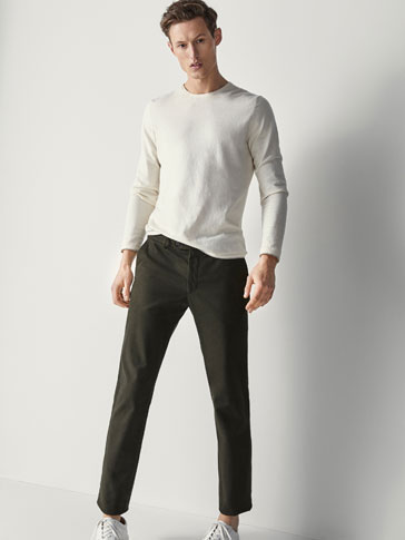SLIM FIT TEXTURED WEAVE TWILL TROUSERS