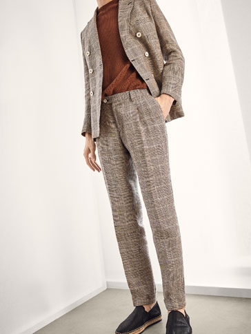 LIMITED EDITION CHECKED LINEN TROUSERS