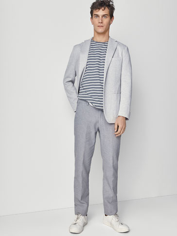 SLIM FIT COTTON/LINEN TROUSERS
