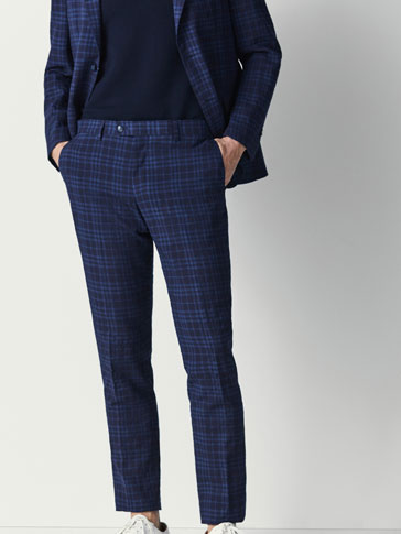 SLIM FIT CHECKED LINEN/WOOL SUIT TROUSERS