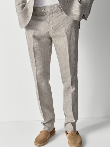 SLIM FIT HOUNDSTOOTH LINEN SUIT TROUSERS