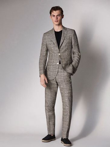 SLIM FIT CHECKED LINEN SUIT TROUSERS