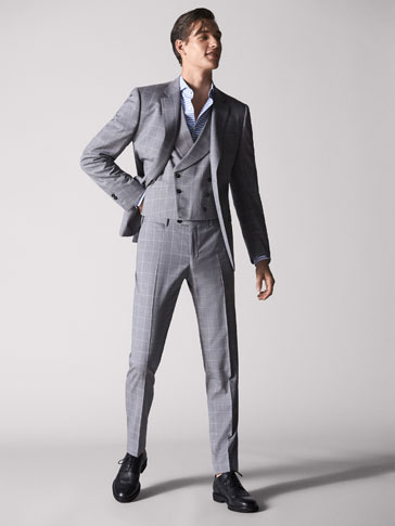 PERSONAL TAILORING SLIM FIT CHECKED WOOL TROUSERS
