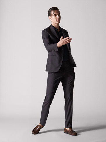 PANTALON LAINE À CARREAUX MARRON SLIM FIT PERSONAL TAILORING