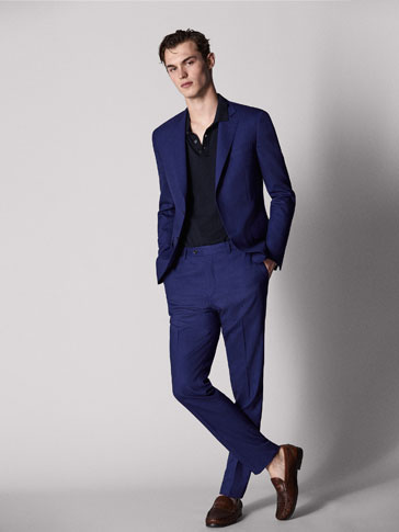 PERSONAL TAILORING SLIM FIT BLUE WORSTED WOOL TROUSERS