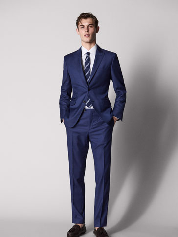 SLIM FIT NAVY BLUE ZIG-ZAG WEAVE WOOL TROUSERS