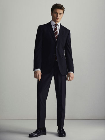 NAVY WOOL SLIM FIT TROUSERS