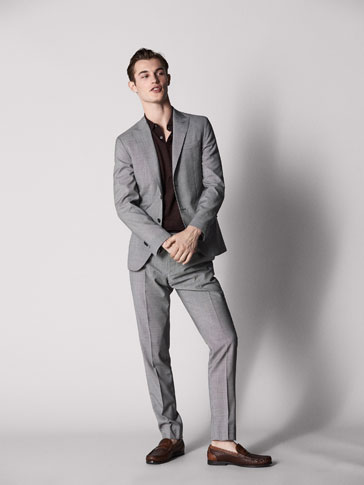 CITY SLIM FIT HOUNDSTOOTH WOOL TROUSERS