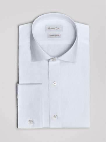 SLIM FIT MICRO TEXTURED WEAVE COTTON SHIRT