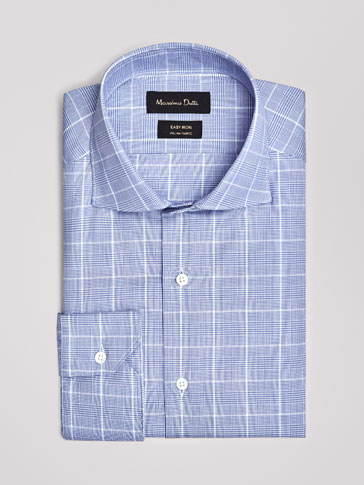 SLIM FIT EASY IRON CHECKED TWILL SHIRT
