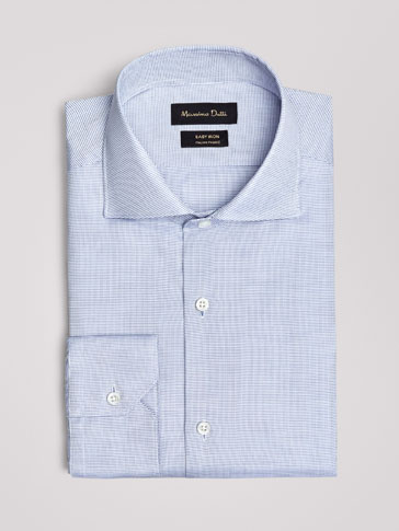 TAILORED FIT EASY IRON TEXTURED WEAVE DOBBY SHIRT