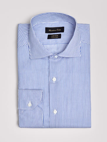 SLIM FIT EASY IRON STRIPED POPLIN SHIRT