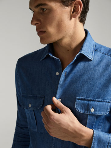 SLIM FIT DENIM SHIRT WITH POCKETS