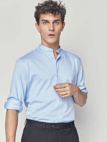 SLIM FIT TEXTURED WEAVE COTTON SHIRT