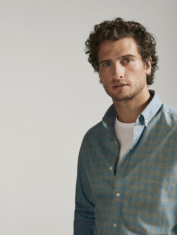 SLIM FIT CHECKED HEATHERED SHIRT