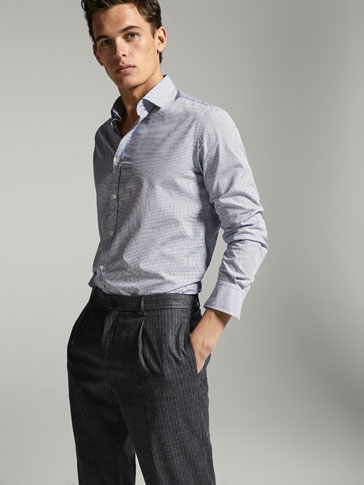 OVERHEMD MET MICROPRINT SLIM FIT