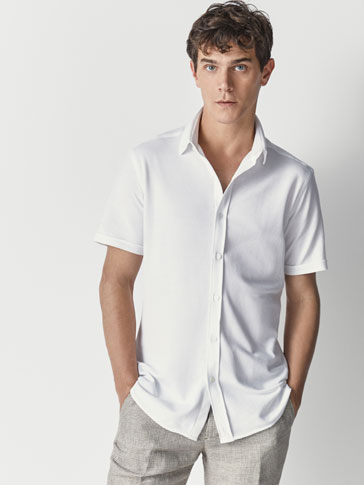 SLIM FIT PIQUÉ COTTON SHIRT