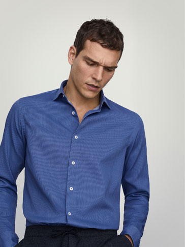 STONE-WASHED SLIM FIT TEXTURED WEAVE SHIRT