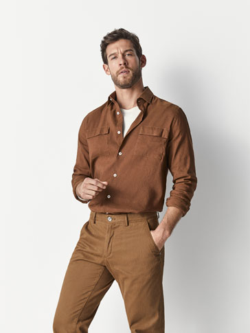 SLIM FIT PLAIN SHIRT WITH POCKETS