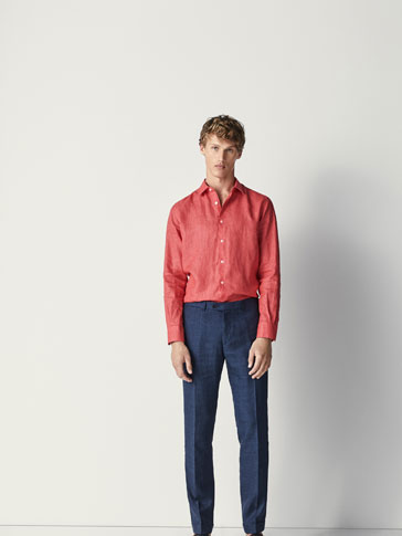 SLIM FIT FADED LINEN SHIRT