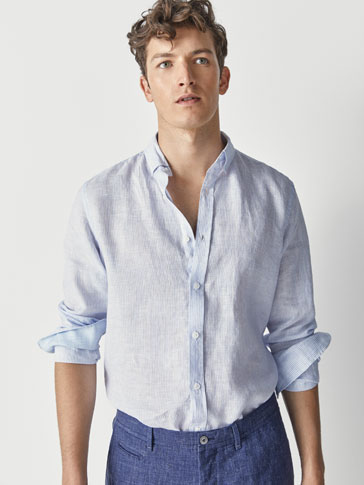 SLIM FIT STRIPED LINEN SHIRT