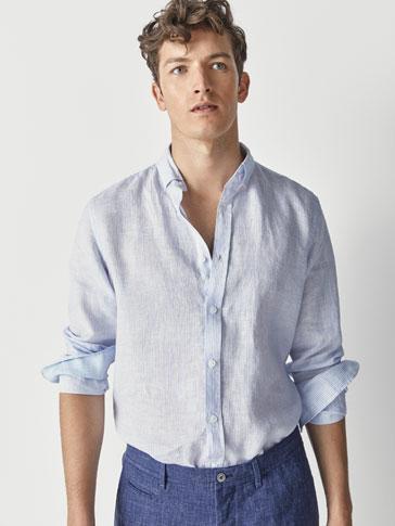 قميص كتان مخطط سليم فيت