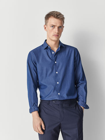 SLIM FIT COTTON DENIM SHIRT