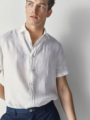 REGULAR FIT PLAIN LINEN SHIRT
