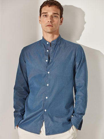 CAMICIA DI COTONE/LYOCELL DENIM SLIM FIT