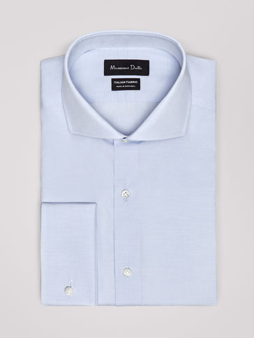 PERSONAL TAILORING SLIM FIT SKY BLUE TEXTURED WEAVE COTTON SHIRT