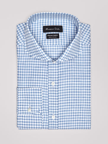 PERSONAL TAILORING SLIM FIT GINGHAM COTTON/LINEN SHIRT