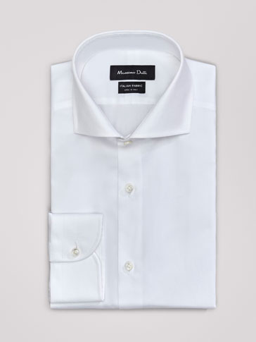 TAILORED FIT TEXTURED WEAVE TWILL SHIRT