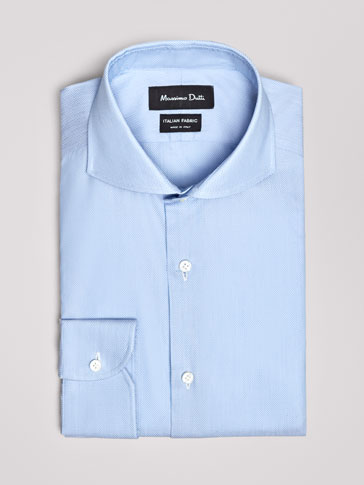 SLIM FIT JACQUARD COTTON SHIRT