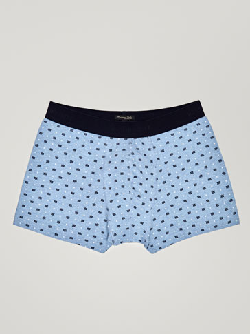 FLORAL AND CROSS PRINT MARL BOXERS