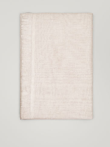 Plain Linen Scarf by Massimo Dutti